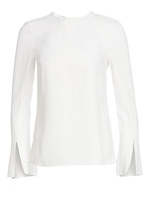 Image of A chic addition to your workwear wardrobe, this blouse has a relaxed lady-like feel. With minimal styling and a sleek finish it features elegant flared trumpet sleeves accented with double slits. Roundneck Long trumpet sleeves with slits Concealed back zi