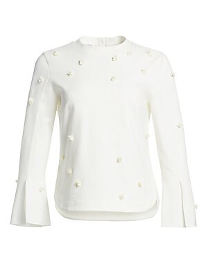 Image of A chic addition to your workwear wardrobe, this blouse has a relaxed lady-like feel. With minimal styling and a sleek finish it features shimmering sequins in a three-dimensional floral motif. Banded roundneck Long trumpet sleeves with slits Concealed bac
