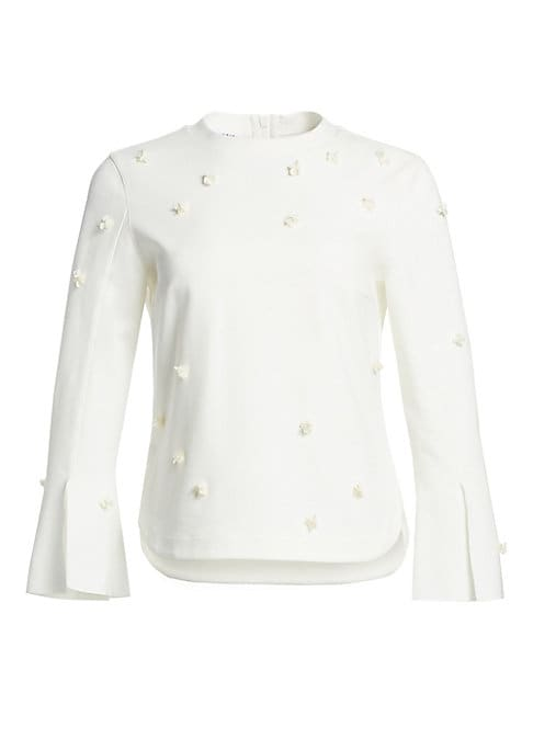 Image of A chic addition to your workwear wardrobe, this blouse has a relaxed lady-like feel. With minimal styling and a sleek finish it features shimmering sequins in a three-dimensional floral motif. Banded roundneck. Long trumpet sleeves with slits. Concealed b