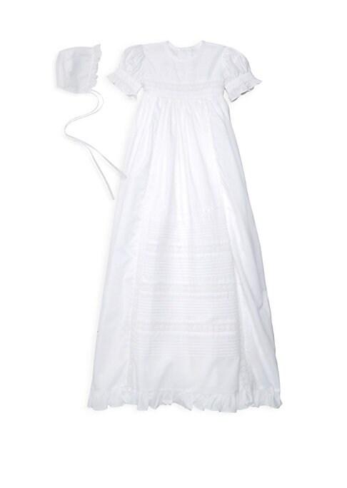 Baby Girls TwoPiece Christening Gown  Bonnet Set