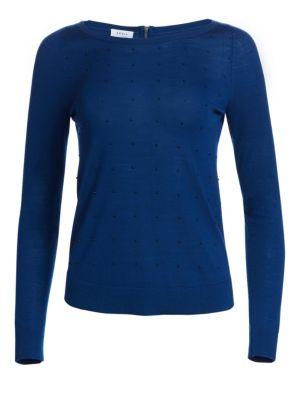 Studded Wool Crewneck Sweater by Akris Punto