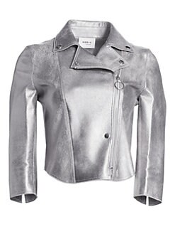 8d7c8aee Akris punto. Metallic Leather Perforated Biker Jacket