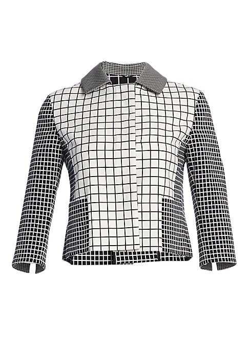Image of Mixed grid design lends geometric accents to this cropped jacket. Structural in its silhouette and back inverted pleat, this boxy essential is an optical anomaly. Spread collar. Three-quarter sleeves. Vented cuffs. Button front. Waist patch pockets. Back