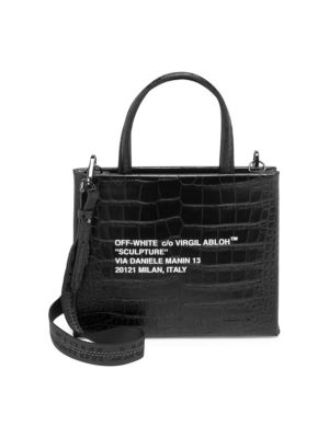 Sculpture Croc Embossed Leather Mini Box Bag by Off White