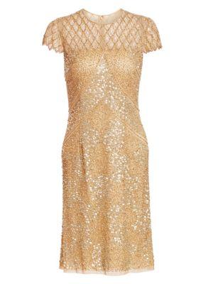 JOANNA MASTROIANNI Sequin Illusion Cocktail Dress in Nude Soft Gold