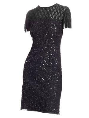 JOANNA MASTROIANNI Sequin Bodycon Cocktail Dress in Black