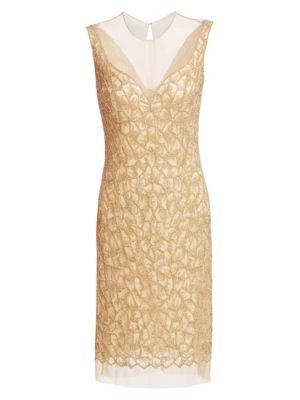 JOANNA MASTROIANNI Beaded Illusion-Neck Cocktail Dress in Gold-Nude