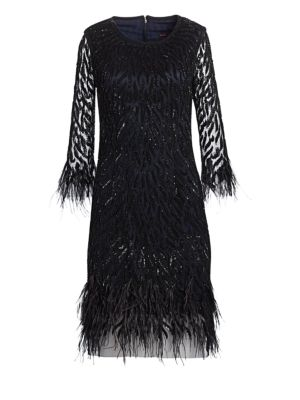 JOANNA MASTROIANNI Sequin Feathered Cocktail Dress in Black-Navy