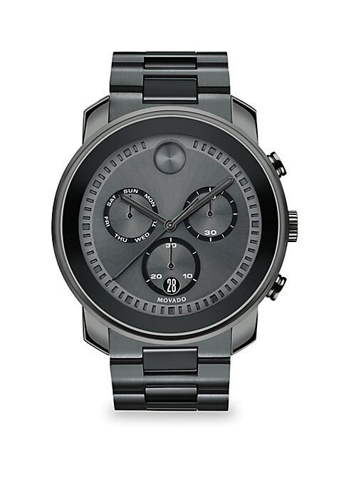 """Image of Striking chronograph watch with versatile subdials and markers. Chronograph movement. Water resistant to 3 ATM. Round PVD case, 48mm (1.89"""").Smooth black bezel with bar markers. Three subdials. Date display at 6 o'clock. Second hand. Gunmetal steel bracel"""
