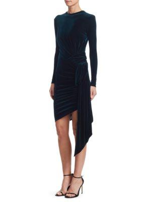 ALEXANDRE VAUTHIER Gathered Velvet Bodycon Dress