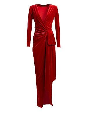 2633bba61f Alexandre Vauthier - Draped Velvet Maxi Wrap Gown - saks.com