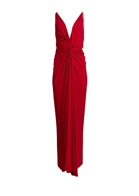 Image of Ravishing twist-knot design highlights this daring evening dress. Boasting a plunging neckline, bare arms and back, its figure-flattering silhouette is the perfect choice for an elegant yet sexy look. Plunging neck. Sleeveless. Slip-on style. Ruched front
