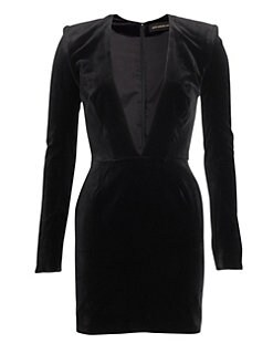 a57e5f21039 Jersey Plunging Long-Sleeve Dress BLACK. QUICK VIEW. Product image