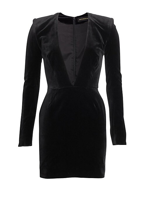 Image of This long sleeve dress is at once glamorous and fierce with its plunging neckline, structured shoulders and short hemline. Crafted in stretch jersey, this a sleek piece made to stand out from the crowd. Plunging V-neck. Long sleeves. Split cuffs. Conceale