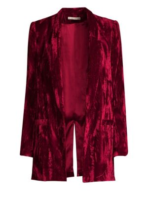 Alice + Olivia Kylie Crushed-Velvet Blazer in Red