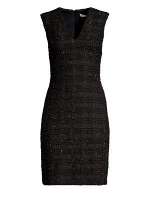 Alice + Olivia Adelaide Metallic Plaid Sheath Dress, Black Metallic
