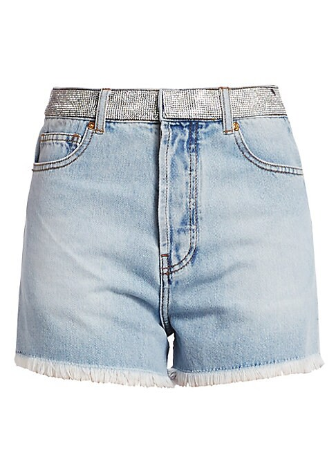 Image of Fun and flirty, your classic cut-offs get a playful update with a rhinestone waistband. Their hi-rise fit and raw edges lend that coveted chic vintage look. Belted loops. Zip fly with button close. Rhinestone waistband. Five-pocket style. Raw hem. Cotton.