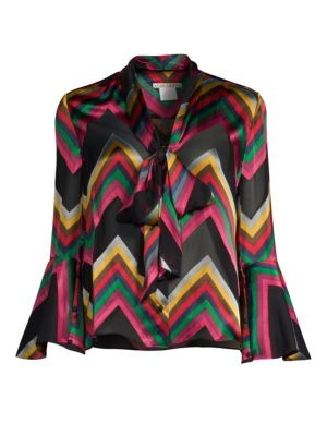 Alice+Olivia Chevron Stripe Pussybow Blouse - Multicolour