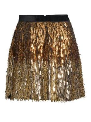 Cina Embellished Glitter Tassel Mini Skirt in Gold