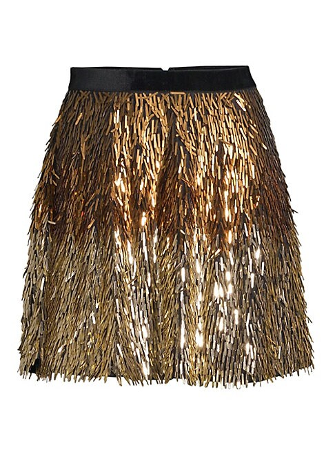 "Image of From the Saks It List: The Mini Skirt. This eye-catching mini-skirt is embellished with tonal sparkling metallic tassels. Banded waist. Back zip and hook-eye closure. About 18"" at longest point. Nylon. Dry clean. Imported. Model shown is 5'10"" (177cm) wea"