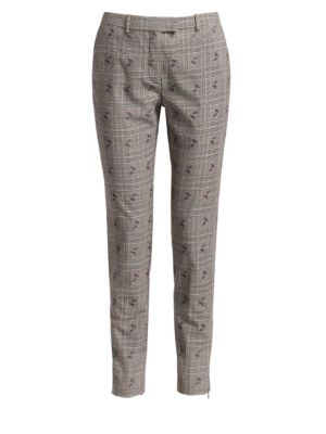 Henri Floral-Embroidered Flared-Leg Prince Of Wales Check Trousers, Black