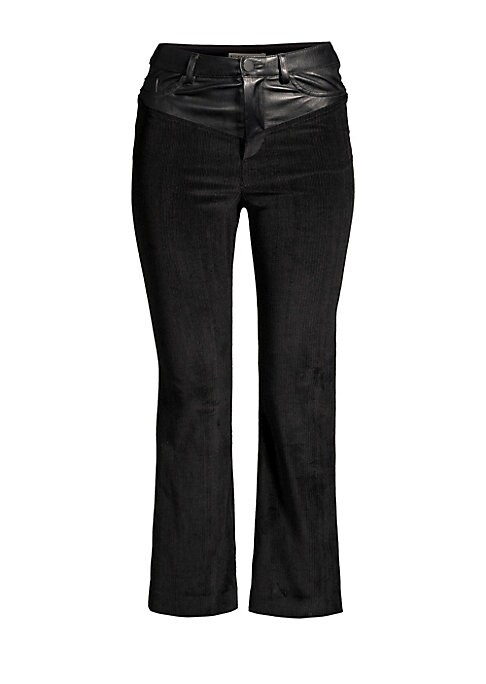 Image of Crop flare trousers with western-inspired leather yoke detail. Waistband. Belt loops. Zip fly with button closure. Five pocket style. Lined. Cotton/elastane/leather/polyester/cupro. Dry clean. Imported of Italian fabric. Crop flare silhouette. Rise, about