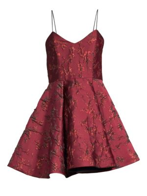 Alice + Olivia Anette Pleated Metallic Floral Dress, Bordeaux