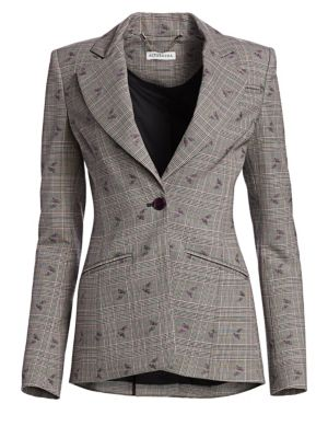 Single-Breasted Floral-Embroidered Prince Of Wales Check Blazer, Black