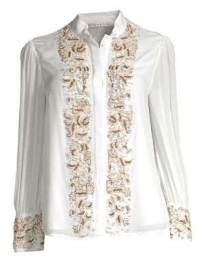 Zita Pearlescent-Embroidered Button-Front Blouse in Off White/ Gold