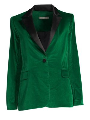 Macey One-Button Fitted Velvet Tuxedo Blazer in Green