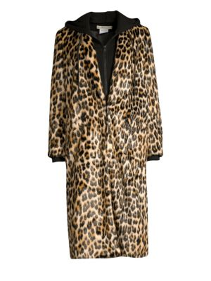 Kylie Leopard-Print Faux Fur And Cotton-Jersey Coat in Leopard Print