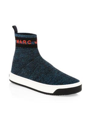 Dart Sock Knit Sneaker, Blue Red