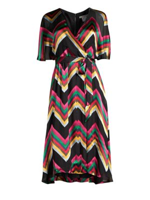 Alice + Olivia Lexa Chevron Burnout Midi Dress in Multicolour