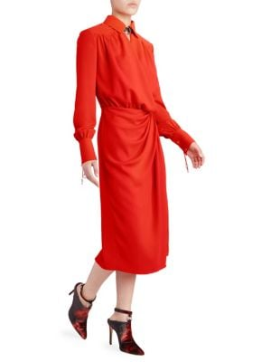 Kat Leather-Trimmed Draped Crepe Midi Dress, Electric Orange