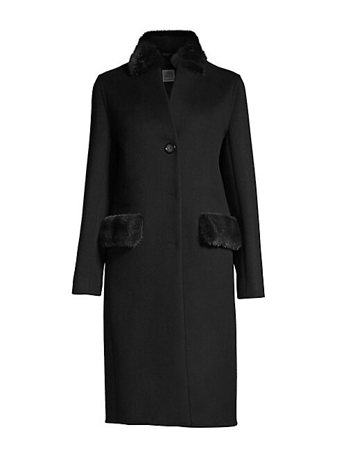 "Image of Mid-length coat cut from wool-blend features luxe mink fur trim at collar and pockets. Stand collar. Long sleeves. Button front. Side flap pockets. About 42"" from shoulder to hem. Virgin wool/cashmere. Fur type: Dyed mink. Fur origin: Finland. Dry clean b"