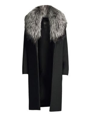 CINZIA ROCCA Silver Fox Collar Wool Coat in Black
