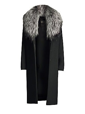 """Image of Tailored wool coat with luscious silver fox fur collar Removable fox fur collar Long sleeves Button closure About 42"""" from shoulder to hem Virgin wool Fur type: Natural silver fox Fur origin: Finland Dry clean Made in Italy Model shown is 5'10 (177cm) wea"""