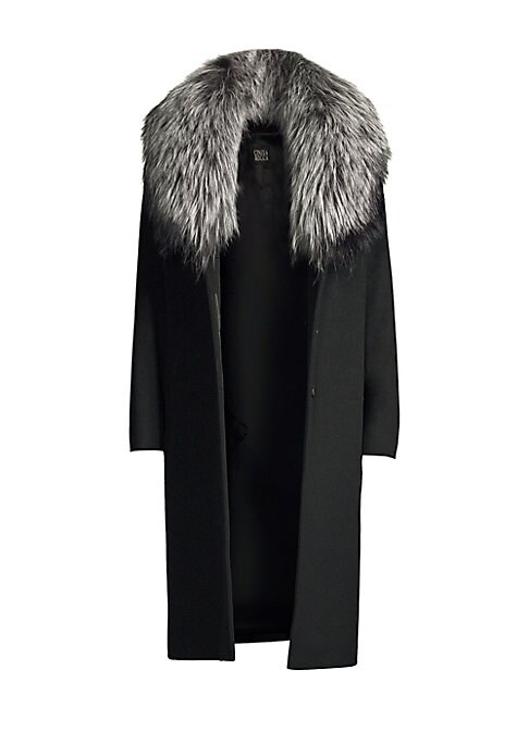 "Image of Tailored wool coat with luscious silver fox fur collar. Removable fox fur collar. Long sleeves. Button closure. About 42"" from shoulder to hem. Virgin wool. Fur type: Natural silver fox. Fur origin: Finland. Dry clean. Made in Italy. Model shown is 5'10"""