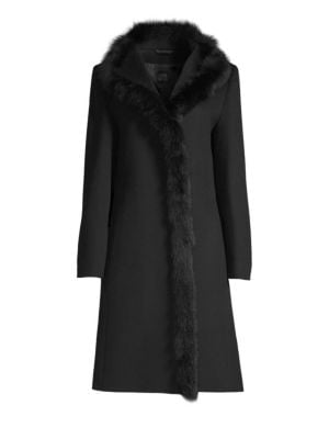 CINZIA ROCCA Fur Trimmed Wool Walker Coat in Black