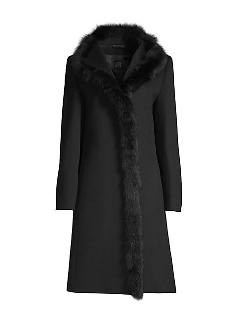 "Image of Knee-length wool walker coat trimmed with plush fox fur. Fur collar. Long sleeves. Concealed closure. About 40"" from shoulder to hem. Virgin wool. Fur type: Dyed fox. Fur origin: Finland. Dry clean. Made in Italy."