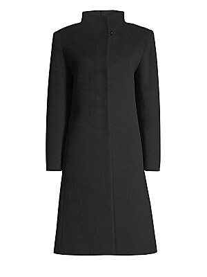 """Image of Elegant wool-cashmere coat features high neck collar and classic A-line silhouette Wing collar Long sleeves Button top Side seam pockets A-line silhouette About 42"""" from shoulder to hem Virgin wool/cashmere Dry clean Made in Italy Model shown is 5'10"""" (17"""