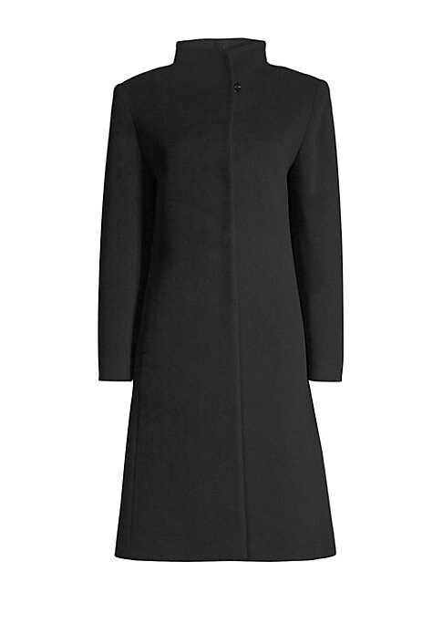 "Image of Elegant wool-cashmere coat features high neck collar and classic A-line silhouette. Wing collar. Long sleeves. Button top. Side seam pockets.A-line silhouette. About 42"" from shoulder to hem. Virgin wool/cashmere. Dry clean. Made in Italy. Model shown is"