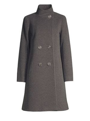 CINZIA ROCCA Wool-Blend Double-Breasted Walking Coat in Grey