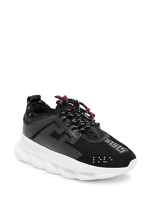 Image of From the Saks IT LIST. THE CHUNKY SNEAKER. Kickitup a notch with the latest wave in footwear. On-trend thick sole with signature Versace imagery. Rubber platform. Synthetic upper. Almond toe. Lace-up vamp. Versace Greek key decoration. Heel tab with Medus