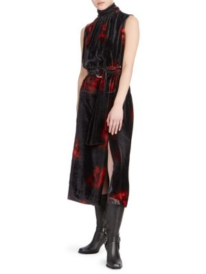 Indira Tie-Dyed Velvet Belted Dress - Red, Black Size 34 Fr