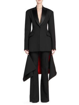 Asymmetric Satin-Trimmed Wool-Blend Jacket, Black