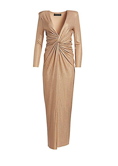 Image of Metallic shimmer highlights the chic, twist-knot design of this daring high-slit evening dress. Boasting a plunging neckline and capped shoulders, its figure-flattering silhouette is the perfect choice for an elegant yet sexy look. Plunging neck. Long sle