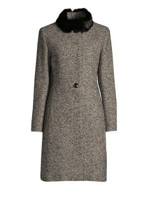 CINZIA ROCCA Rabbit Collar Three-Quarter Coat in Black