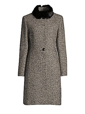"""Image of Tailored wool coat with plush rabbit fur collar Rabbit stand collar Long sleeves Button closure About 38"""" from shoulder to hem Acrylic/wool/polyester/alpacac/other fibers Fur type: Dyed rabbit Fur origin: Hungary Dry clean Imported Model shown is 5'10 (17"""