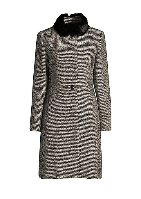 "Image of Tailored wool coat with plush rabbit fur collar. Rabbit stand collar. Long sleeves. Button closure. About 38"" from shoulder to hem. Acrylic/wool/polyester/alpacac/other fibers. Fur type: Dyed rabbit. Fur origin: Hungary. Dry clean. Imported. Model shown i"
